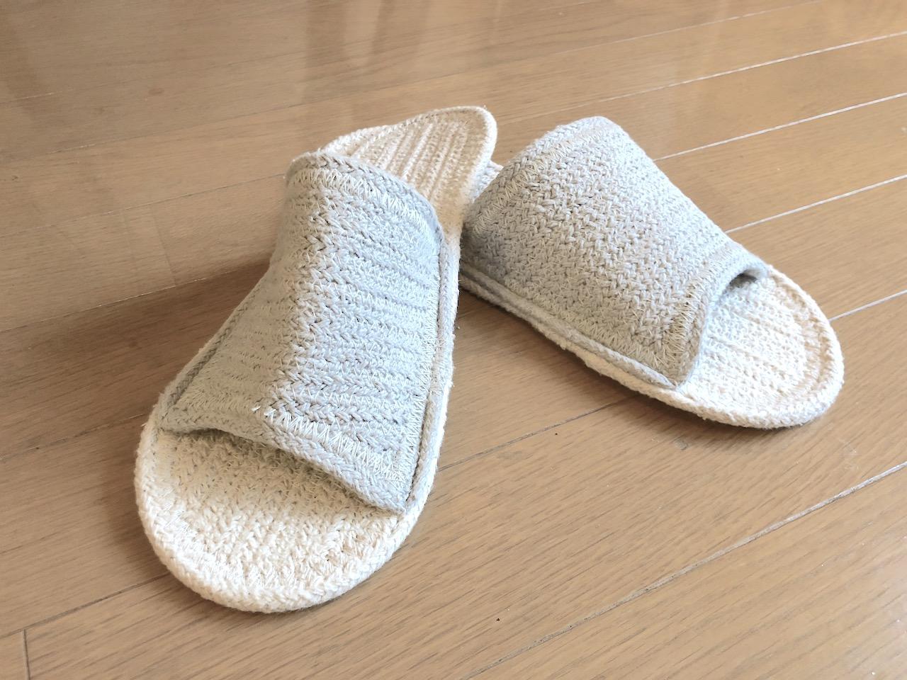 何度も洗える無印良品のルームサンダルは男のひとり暮らしの必需品|インド綿混ルームサンダル・前あき